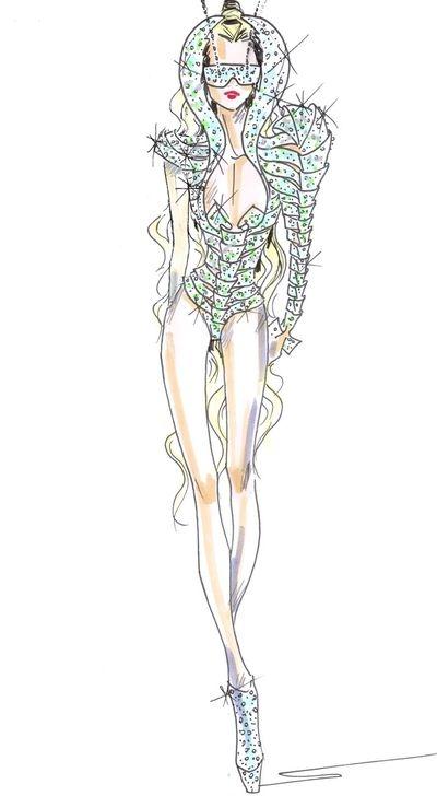 Эскизы нарядов Гаги от разных дизайнеров.