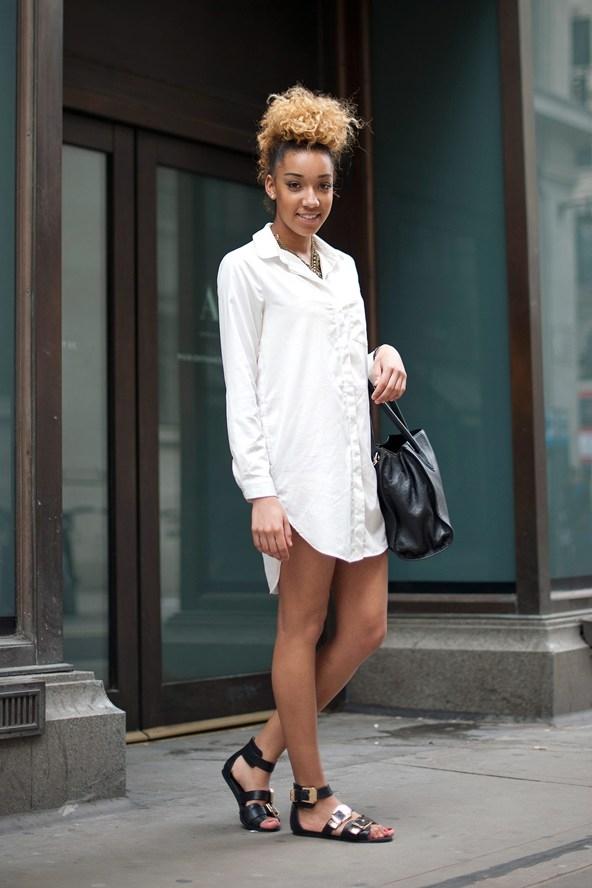 Уличная мода платье рубашка