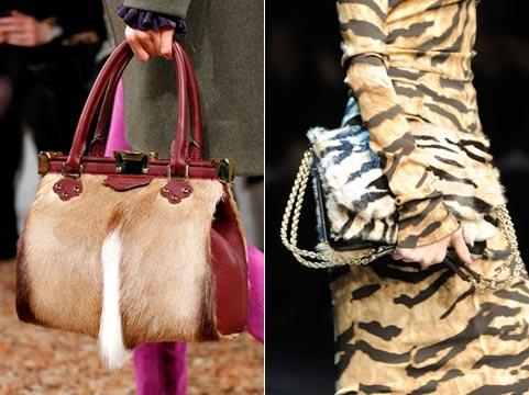 2 меховые сумки из модных коллекций осень-зима 2011-2012.