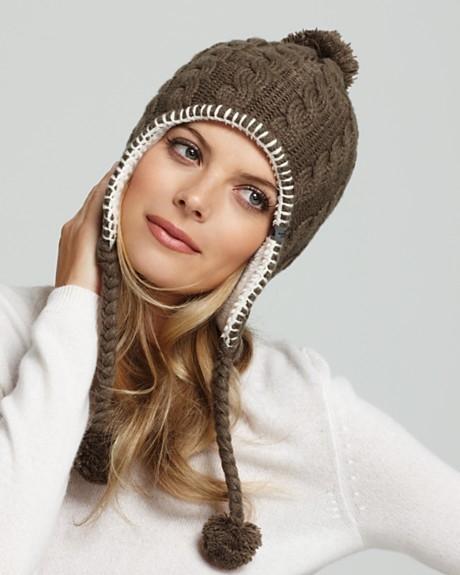 Вязание спицами шапки с длинными ушками