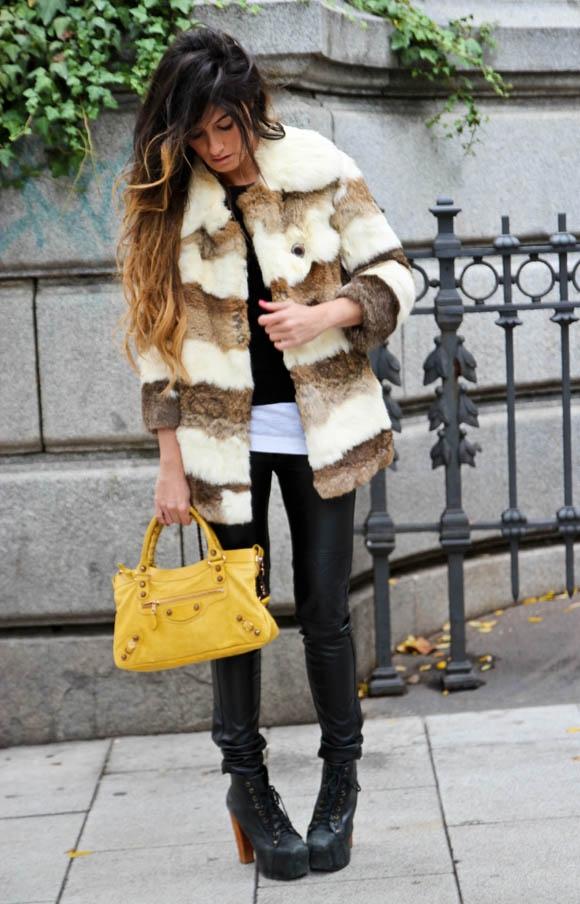 431Модный лук с кожаной курткой