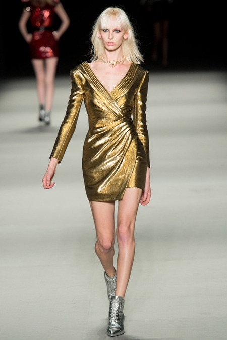 saint laurent 2014 spring summer disco gold dresses