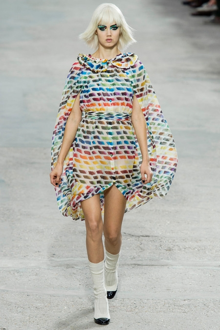 chanel 2014 spring summer chiffon dress