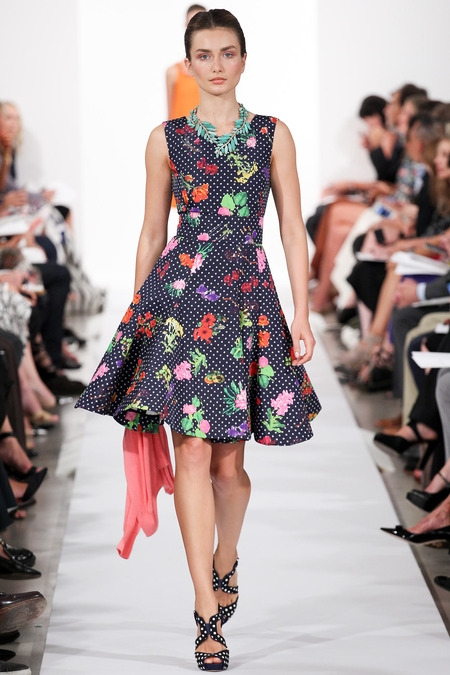 oscar de la renta 2014 flower print dress