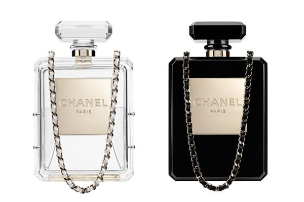 chanel №5 bottle perfume clutch bag