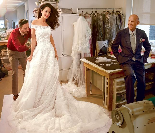 Амаль Аламуддин в свадебном платье от Oscar de la Renta