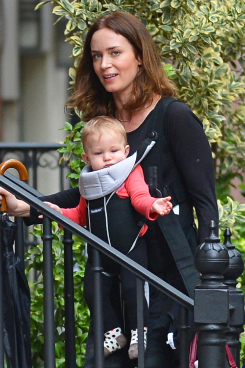 EXCLUSIVE: Emily Blunt and baby Hazel seen out in West Village, NYC