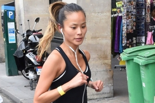 Jamie Chung runs the Nike 10km Paris Centre Marathon and finishes in just under 50 minutes.Pictured: Jamie ChungRef: SPL856813  051014  Picture by: D.Taylor / Splash NewsSplash News and PicturesLos Angeles:310-821-2666New York:212-619-2666London:870-934-2666photodesk@splashnews.com