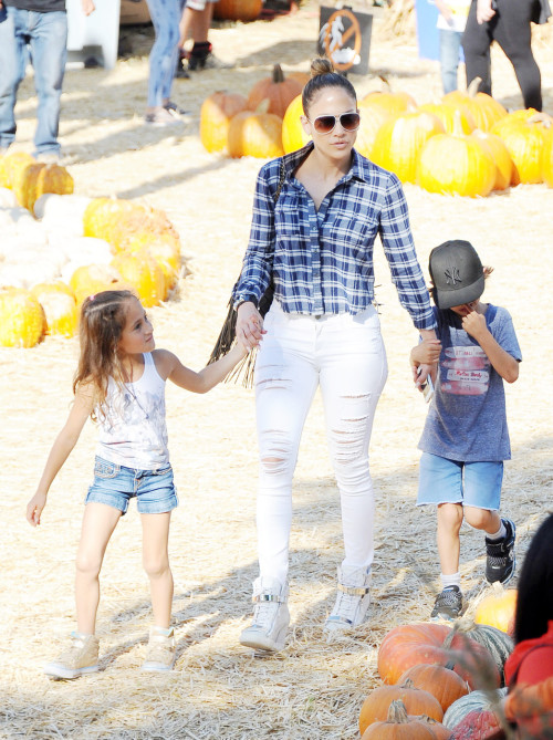 Jennifer Lopez takes her children Emme and Max to Mr Bones Pumpkin Patch in West Hollywood