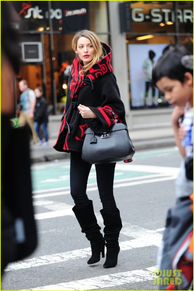 Blake Live running errands near Union Square in a Lindsay Thornburg cloak from her site Preserve.us