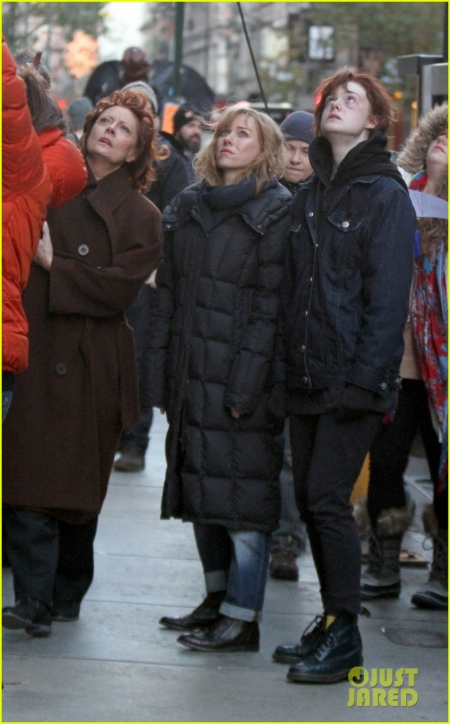 Naomi Watts and Elle fanning, who has a bruised up face are helping Susan Sarandon to climb a fire escape while looking for a shoe on the set of the 'Three Generations' movie in Downtown, New York