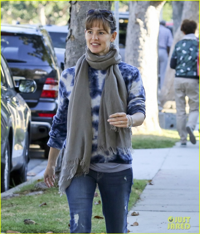 Jennifer Garner Enjoys A Walk With A Friend