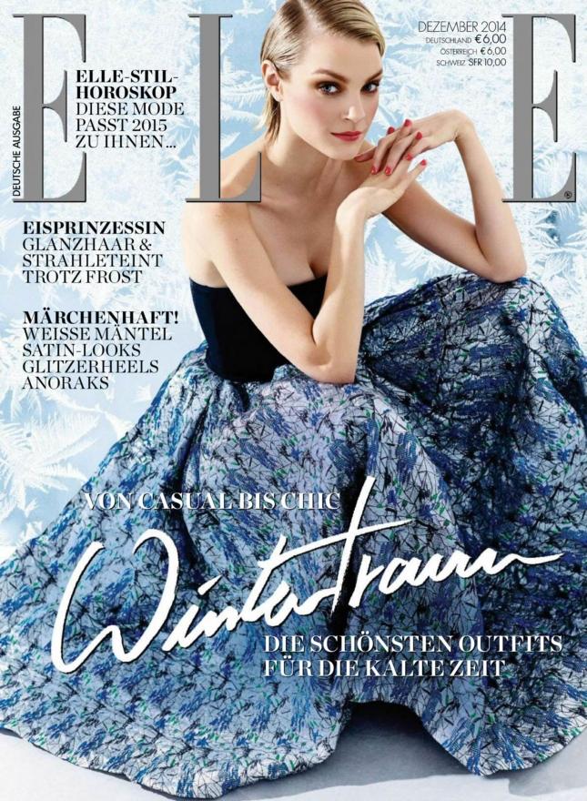 Джессика Стэм на обложке Elle Германия, декабрь 2014