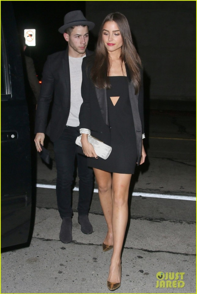 Nick Jonas and girlfriend Olivia Culpo arrive at Craig's restaurant in West Hollywood