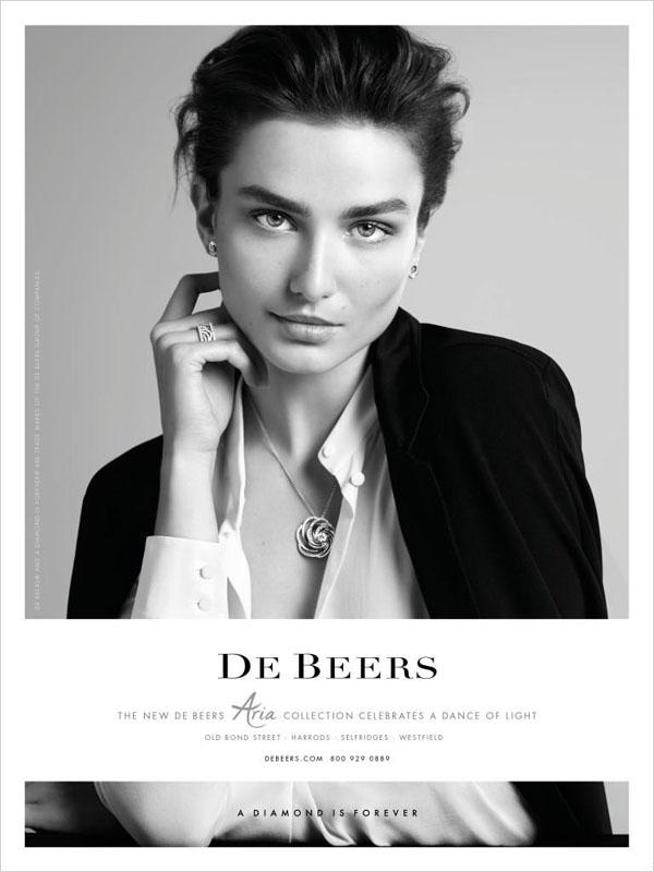 Андреа Дьякони в рекламной кампании De Beers FW 2014