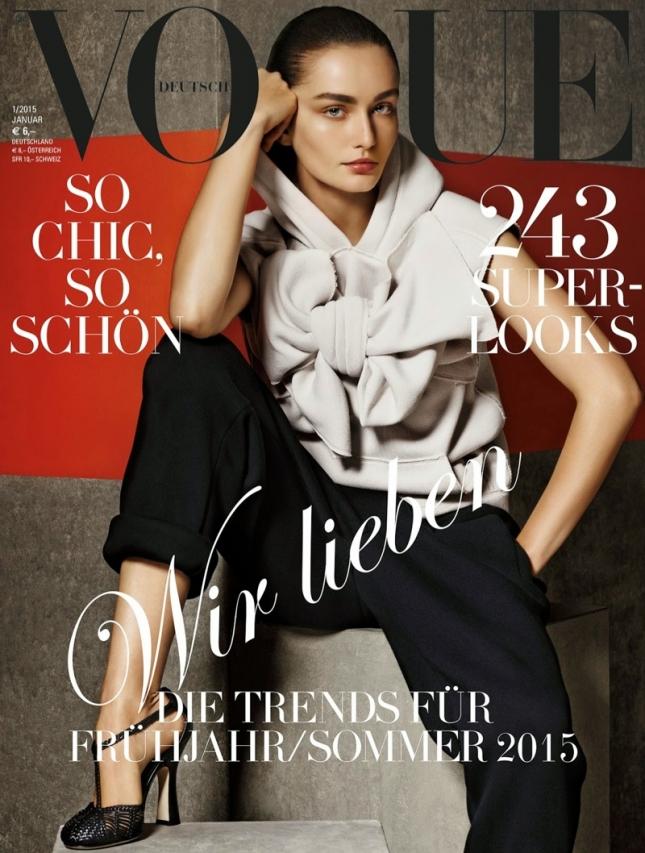 Андреа Диакони на обложке Vogue Германия, январь 2015