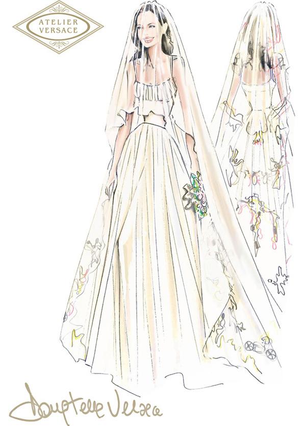 эскиз свадебного платья Анджелины Джоли
