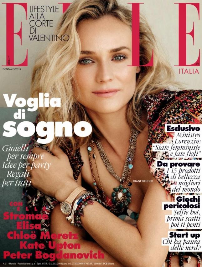 Диана Крюгер на обложке Elle Италия, январь 2015