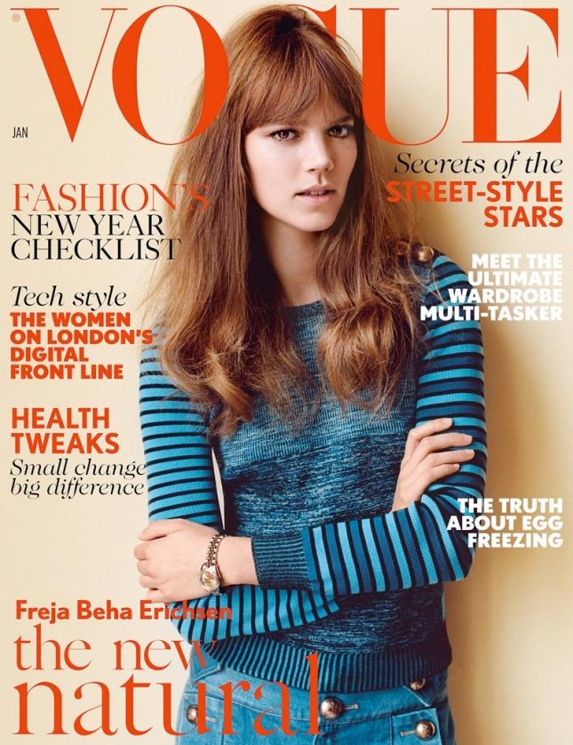 Фрея Беха Эриксен на обложке Vogue UK, январь 2015