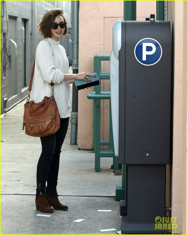 Lily Collins Pays for Parking