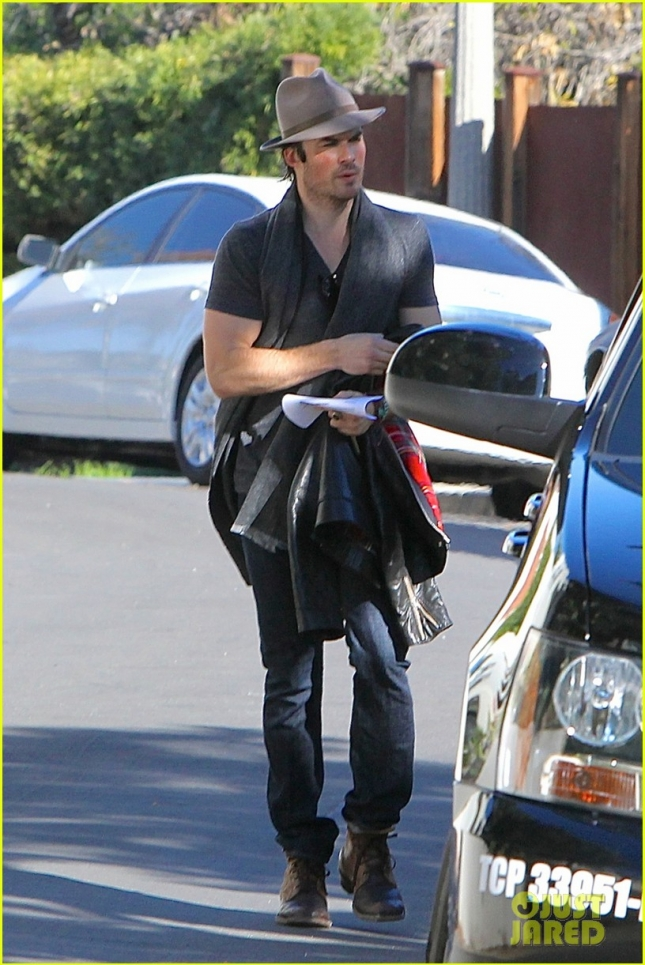 Ian Somerhalder Hops In A Limo Outside Of Nikki Reed's House
