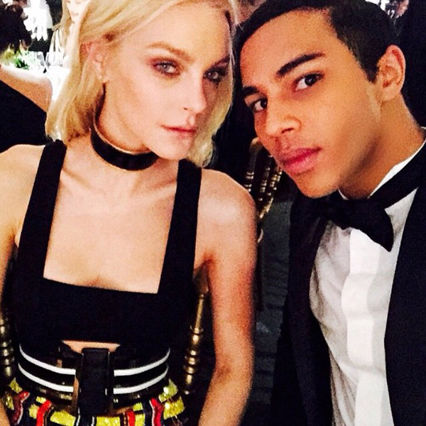 Jessica Stam takes a selfie with Balmain creative director Olivier Rousteing