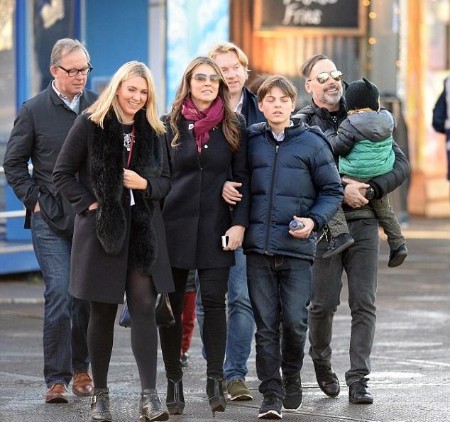 Дэвид Ферниш и Элизабет Херли с детьми и приятелями