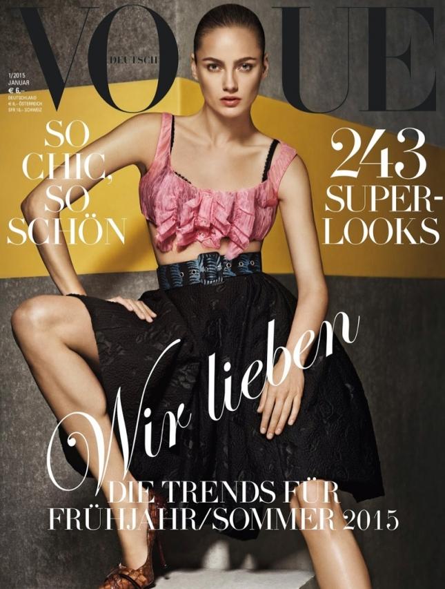 Кармен Педару на обложке Vogue Германия, январь 2015