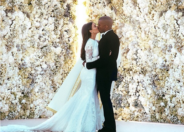 свадебные фото Ким Кардашьян и Канье Уэста
