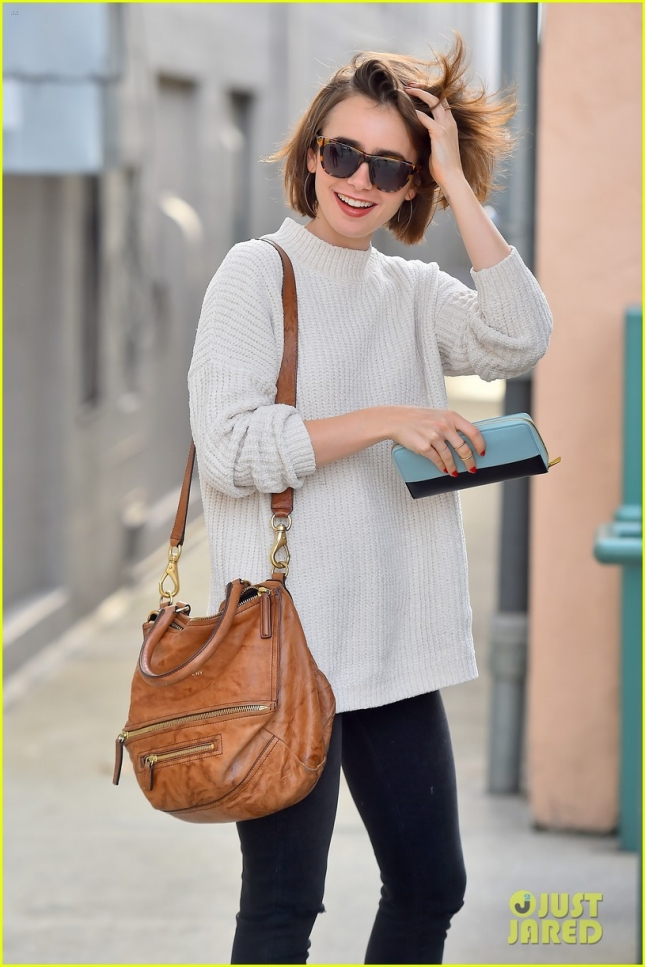 Lily Collins is all smiles running errands in Beverly Hills