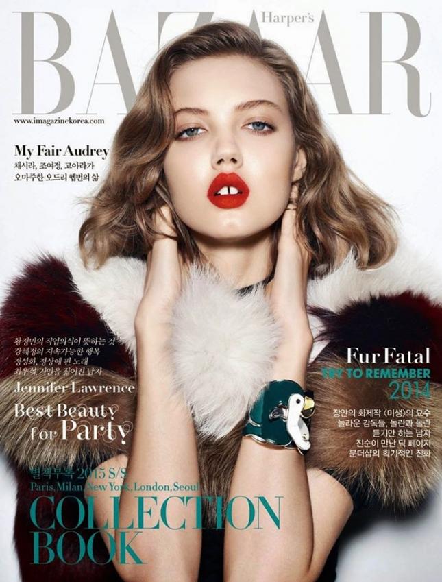 Линдси Виксон на обложке Harper's Bazaar  Корея, декабрь 2014