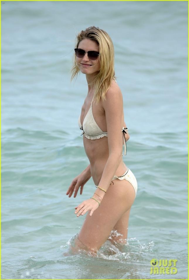 Victoria's Secret Angel Martha Hunt Wears A White Lace Bikini On The Beach In Miami