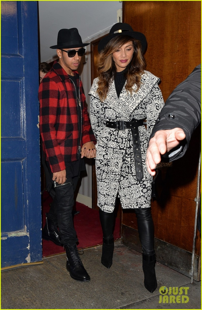 Nicole Scherzinger and Lewis Hamilton leaving the London Palladium