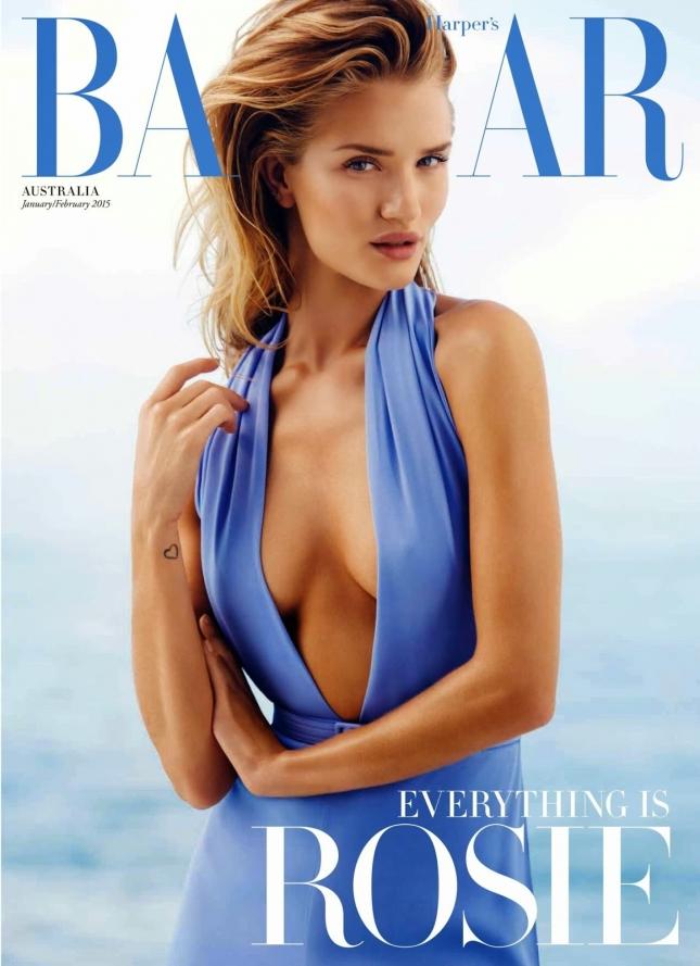 Рози Хантингтон-Уайтли  на обложке Harper's Bazaar Австралия, январь 2015