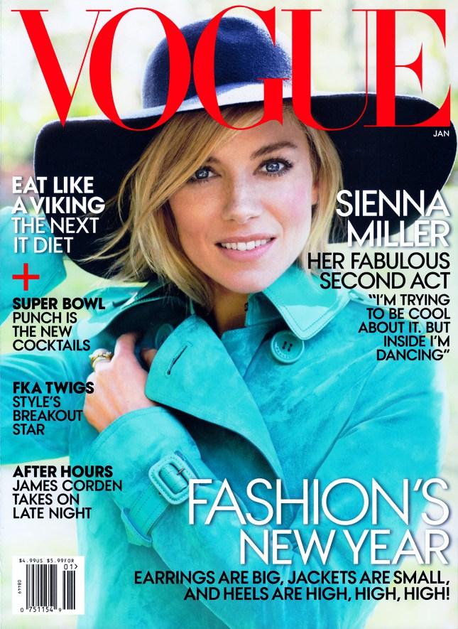 Сиенна Миллер на обложке Vogue США, январь 2015
