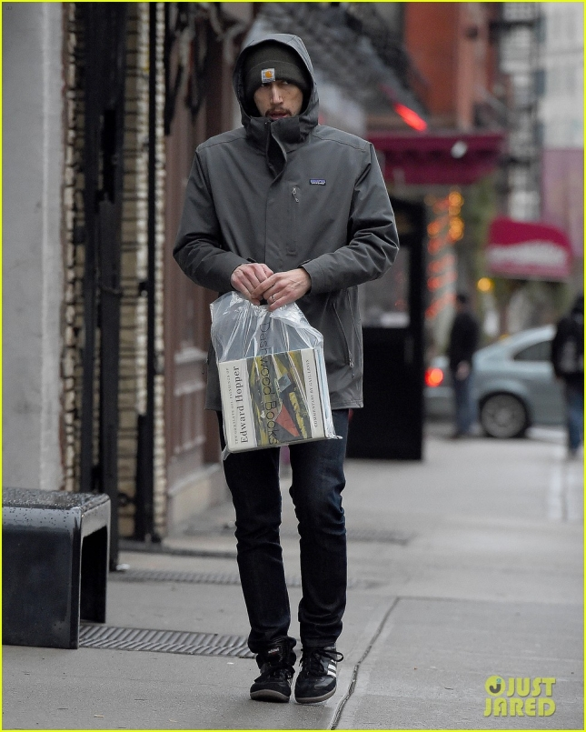 """Star Wars"" villain Adam Driver seen carrying a new book: The Complete Oil Paintings of Edward Hopper, while walking in New York City"
