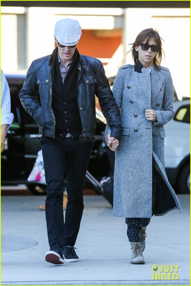 Benedict Cumberbatch and Sophie Hunter depart from LAX **NO UK**