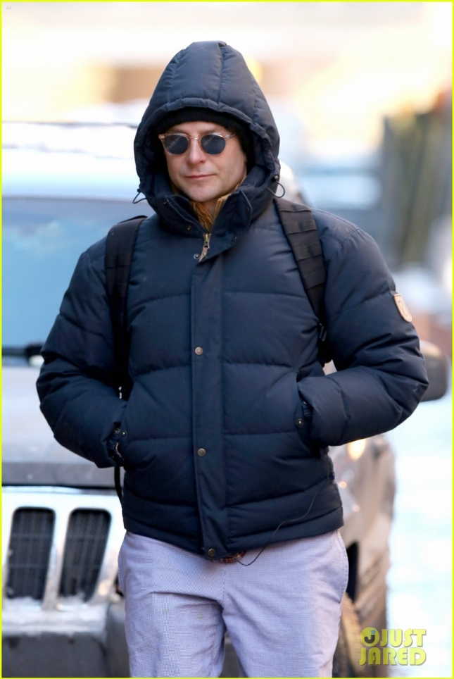 Bradley Cooper walks to the subway heading to his broadway show the Elephant Man