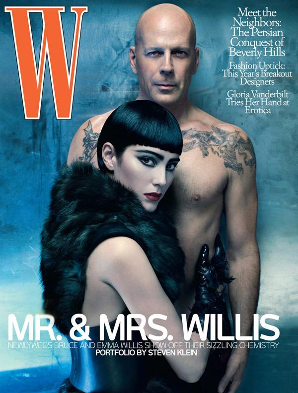 Брюс Уиллис и Эмма Хеминг на обложке W magazine