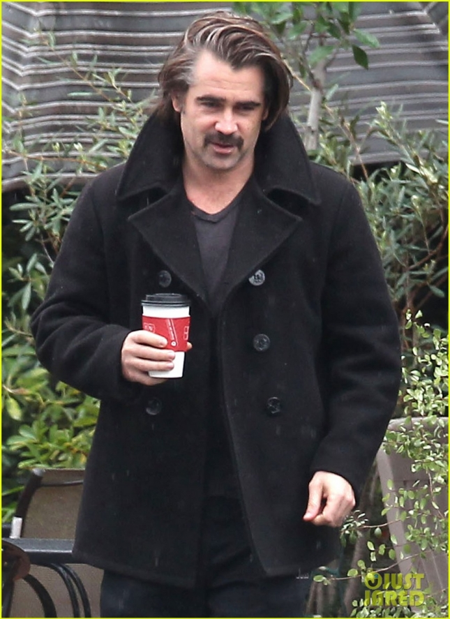 Exclusive... Colin Farrell Grabs A Coffee With A Friend In Los Angeles