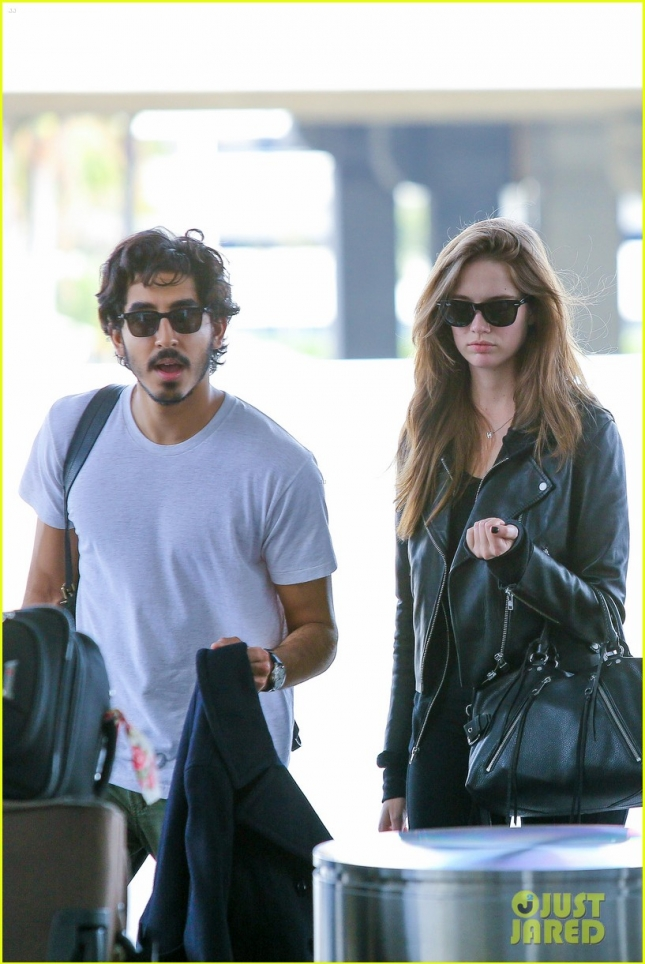 Dev Patel heads out at LAX with a pretty brunette