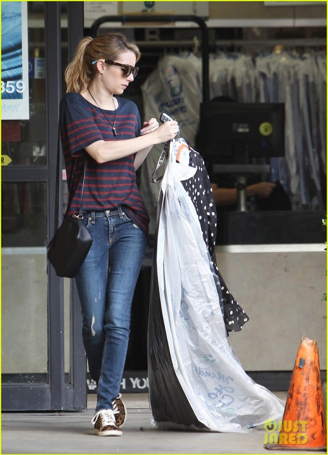 Emma Roberts Picks Up Her Dry Cleaning