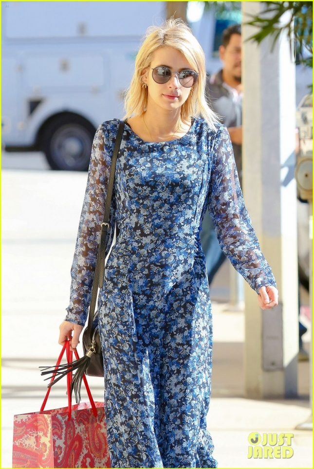 Emma Roberts handles her shopping with style