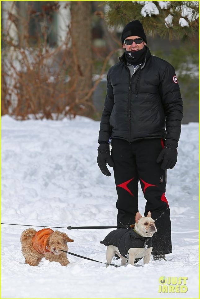 Hugh Jackman Enjoys The Snow With His Dog