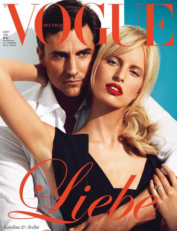 Каролина Куркова и Арчи Дрери на обложке Vogue Германия