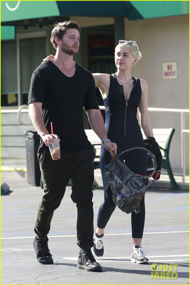 Miley Cyrus and boyfriend Patrick Schwarzenegger seen having lunch at Hugo's in Sherman Oaks