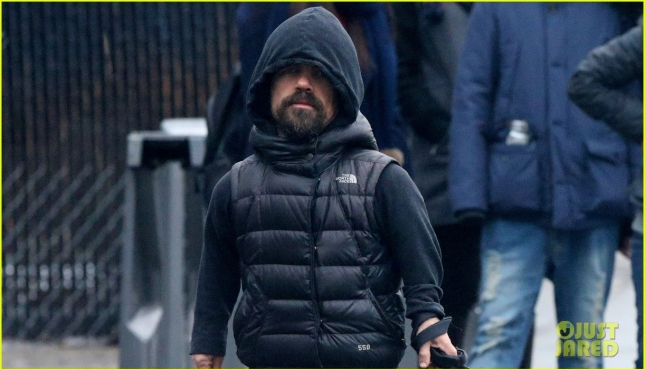 Actor Peter Dinklage performs the noble duty of picking up after his dog Kevin in the Meatpacking District of NYC
