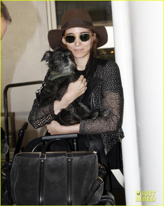 Руни Мара и её песик в аэропорту LAX