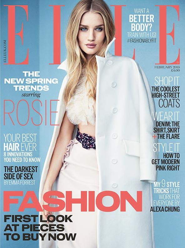 Рози Хантингтон-Уайтли на обложке Elle UK, февраль 2015