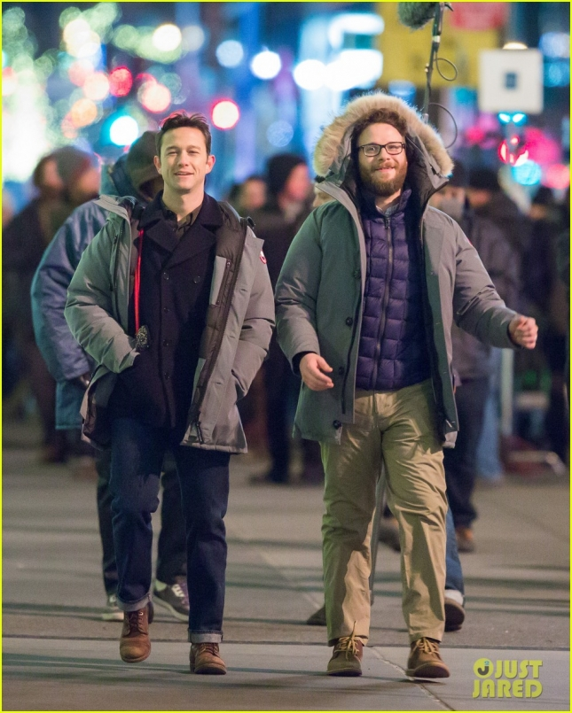 Seth Rogen, Joseph Gordon-Levitt and Anthony Mackie are seen filming in New York City